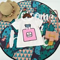 2018夏季新款时尚韩版女童装香水瓶印花小童可爱宝宝圆领短袖T恤