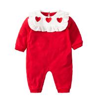 婴儿新年喜庆连体衣服女宝宝新生儿0岁3个月纯棉秋冬季冬装睡衣