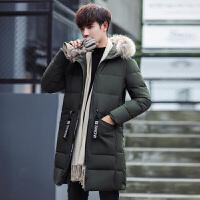 冬季男士棉衣中长款加厚冬装韩版修身青年棉袄毛领外套潮 军绿色 3XL