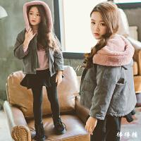 女童棉衣冬装新款韩版中大童加厚连帽兔毛儿童棉袄外套潮