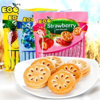 马来西亚进口EGO果酱夹心饼干凤梨蓝莓草莓味早餐零食300g*3