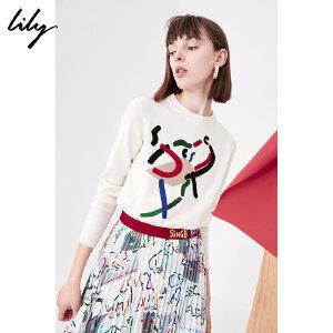【每满200减100】Lily2018秋新款女装商务OL趣味抽象彩条圆领毛衣118100B8711