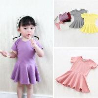 百搭儿童宝宝短袖连衣裙女童1-2-3岁-4夏季荷叶边洋气婴儿裙子