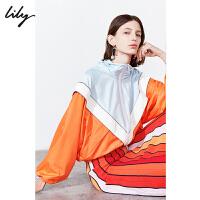 Lily2019秋新款女装轻运动桔色撞色块拉链高领休闲连帽短外套3931