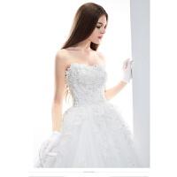 婚纱礼服新款冬韩版蕾丝抹胸长拖尾韩式新娘大码孕妇红色齐地 白色 白色修身拖尾