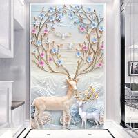 蒙娜丽莎印花十字绣2018新款客厅玄关竖版发财鹿简约现代简单线绣