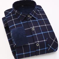 秋冬保暖衬衫男长袖加绒加厚格子修身保暖衬衣休闲免烫韩版男士休闲衬衣
