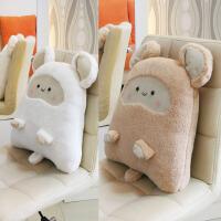 床头靠背垫可爱护腰靠垫毯子卡通椅子腰垫车载靠枕头被子两用抱枕
