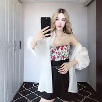 套装女夏韩版新款甜美气质碎花抹胸露背上衣+防晒服+裤子三件套潮