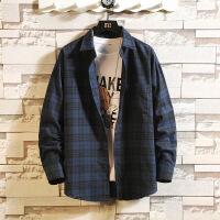 格子衬衫男长袖秋季薄款韩版潮流帅气休闲衬衣男寸衣外套上衣