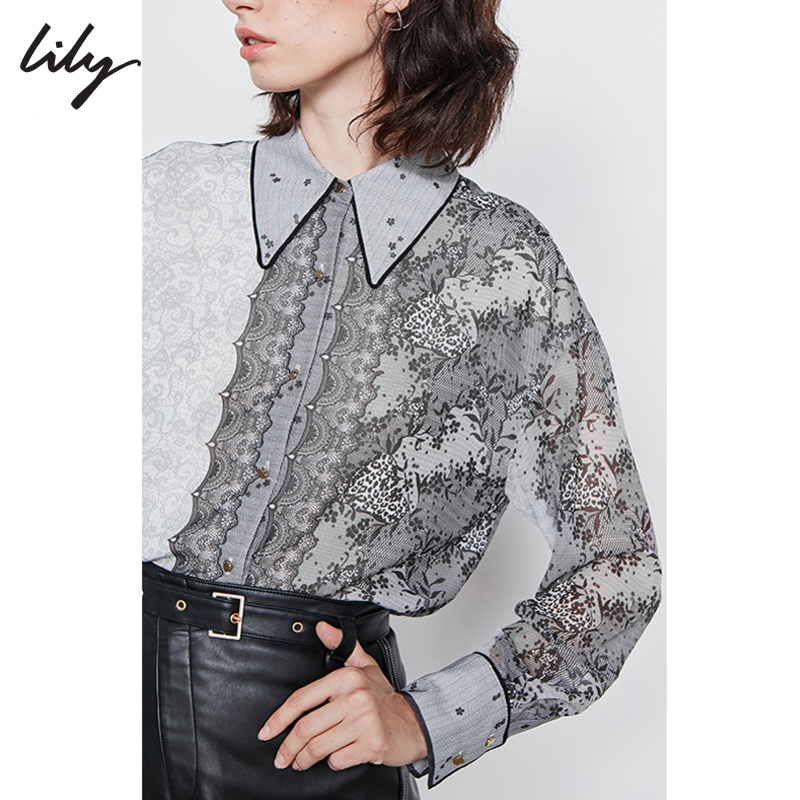 Lily2019秋冬新款气质不对称蕾丝印花宽松直筒长袖衬衫女4912