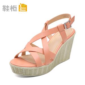 达芙妮集团 鞋柜时尚舒适高跟坡跟防水台凉鞋