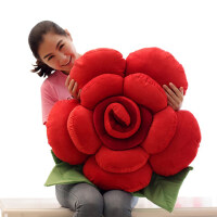 创意七夕情人节礼物送女生毛绒玩具玫瑰花抱枕布娃娃沙发车饰靠垫