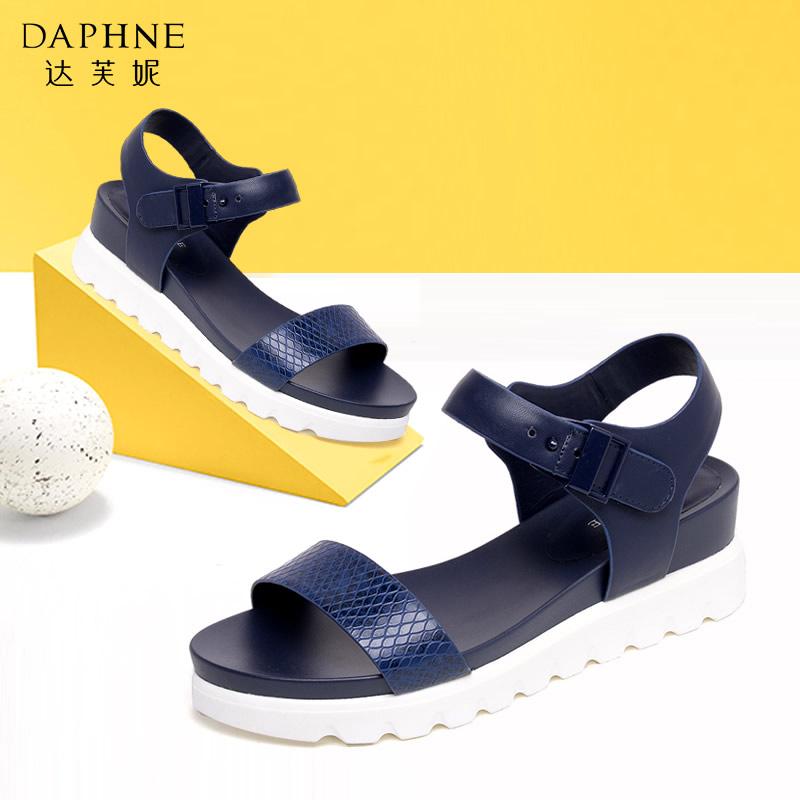 Daphne/达芙妮夏季凉鞋时尚蛇纹厚底魔术贴女凉鞋
