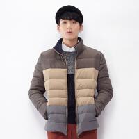 [1.5折价113.9元]唐狮冬装新款潮羽绒服男拼接立领休闲男士外套韩版青年上衣