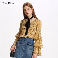 Five Plus2019新款女春装雪纺衬衫荷叶边喇叭袖碎花上衣长袖薄款