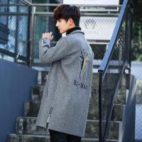 潮牌风衣秋冬季男装青年西装领呢子外套中长款单排扣毛呢大衣