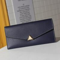 新款女士手拿钱包女长款韩版潮个性拉链女学生手机包 14_三折深蓝(可装手机硬币) 0-3
