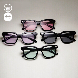 音米新款透明镜片太阳镜男士墨镜女潮 2016个性圆脸复古眼镜AASAPF858