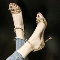铆户外钉高跟一字带仙女风女士凉鞋百搭配裙子的女鞋