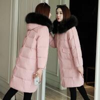【限时抢购】2019新款宽松加厚棉服女中长款大毛领时尚韩版棉衣冬季外套潮