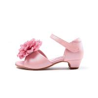 凉鞋儿童时尚女童高跟鞋女公主小学生女孩萝莉粉色