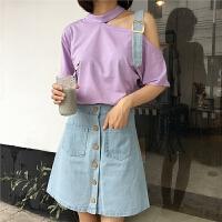 韩版时尚休闲套装夏装中长款露肩短袖T恤上衣+牛仔半身裙两件套女