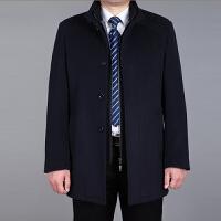 秋冬中年男士毛呢大衣加厚中老年人中长款毛呢大衣爸爸装呢子外套