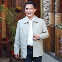 中老年男士夹克爸爸装春秋薄款纯棉大码中山装外套男装休闲茄克衫