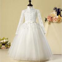 冬季花童礼服 儿童礼服公主裙女童长袖婚纱蓬蓬裙长款钢琴演出服