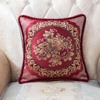 欧式沙发抱枕套含芯靠枕客厅中式红木家用大号靠垫正方形T 红色 D-1