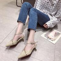 韩版尖头百搭休闲铆钉时尚细跟一字带高跟鞋女包头凉鞋女