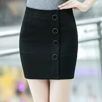 包臀裙秋冬新款女半身裙短裙弹力包裙黑色裹裙大码不规则一步裙子 黑色