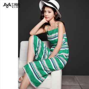 七格格夏装新款个性彩色条纹 背带八分阔腿休闲裤 女