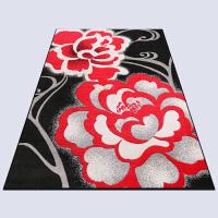 家纺 时尚简约新古典卧室客厅茶几床边毯手工剪花地毯黑白色