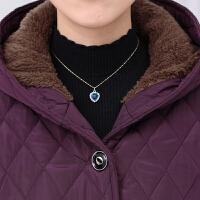 中老年女装大码妈妈装秋冬棉衣女中长款加绒加厚冬季棉袄外套lm 紫色 XL(85-105斤)