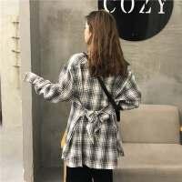 春装新款中长款格子衬衫女韩版复古直筒百搭长袖polo衫学生