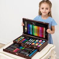儿童画笔套装绘画水彩笔小学生画画工具文具美术小女孩圣诞节礼物 123件抽屉木壳 调色盘礼袋画本