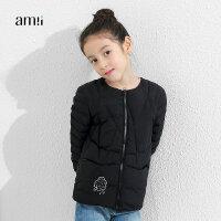 amii童装冬装新款女童短款羽绒服中大童儿童轻薄羽绒外套+
