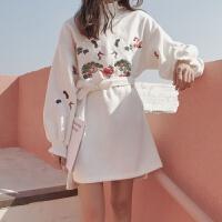 28秋冬新款韩国仙鹤刺绣宽松加厚呢子中长款套头长袖系带卫衣女 均码