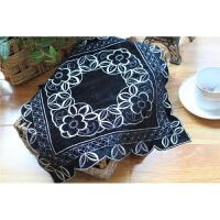 茶具茶盘防尘盖布黑色原单黑色唯美餐桌布微波炉盖布盘垫装饰巾欧式简约现代 黑色 35*35cm