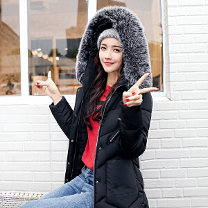 Freefeel 2018秋冬新款棉服女中长款大毛领时尚韩版女装XYG915