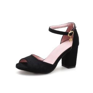 ELEISE美国艾蕾莎新品098-76-2韩版磨绒高跟粗跟女士凉鞋