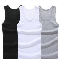 谢嘉儿3件 男士纯棉背心青年春夏季运动健身修身弹力打底内衣白汗衫紧身休闲