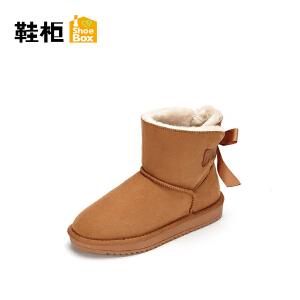【达芙妮集团】鞋柜 冬新款加绒加厚平底雪地靴系带短靴 女