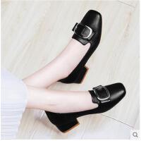 古奇天伦韩版百搭春季方头中跟粗跟单鞋新款社会女鞋子内增高英伦皮鞋SX08828