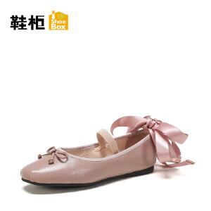 Daphne/达芙妮旗下 鞋柜复古方头低跟单鞋浅口蝴蝶结一脚套女鞋