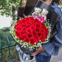 33朵鲜花双色礼盒宁波速递同城红香槟玫瑰花束江北鄞州慈溪生日送花店