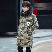 韩版迷彩大毛领帅气大码羽绒服男中长款连帽加厚青年外套潮流冬装 迷彩