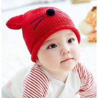 宝宝帽子秋冬6--24个月儿童针织毛线帽男女宝宝帽子保暖护耳帽